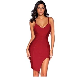 Deep V Neck Strappy Splitting Club Party Bandage D